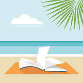 Book on the beach — Stock Vector