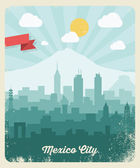 Mexico City vintage poster — Stock Vector