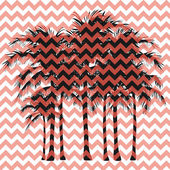 Silhouettes of palm trees on a pink background — 图库矢量图片