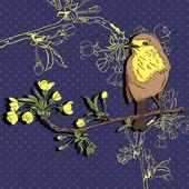 Bird on the branch. Vector illustration — Stock Vector