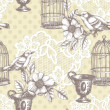 Vintage romantic seamless pattern with bird — Stock Photo #45942161