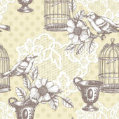 Vintage romantic seamless pattern with bird — Stock Photo
