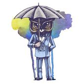 Owl with umbrella in a tuxedo. — Stock Photo