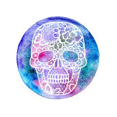 Floral lacy skull and watercolor. — Stock Photo