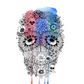 Human skull made of flowers and watercolor. — Stock Photo