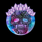 Floral lacy skull and watercolor. — Stockfoto