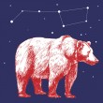 Big Dipper and polar bear. — Stock Vector