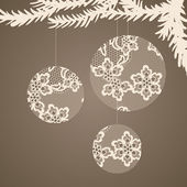 Christmas lacy balls -- greeting card. — Stock Vector