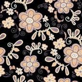 Patroon met bloemen op zwarte achtergrond. — Stockvector