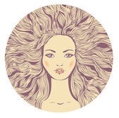 Pretty young woman with wavy hair. — Stock Vector