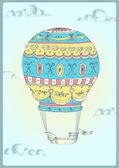 Retro hot air balloon. — Stock Vector