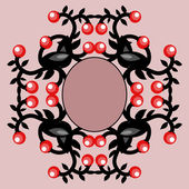 Vector floral frame with red berries. — Stock Vector