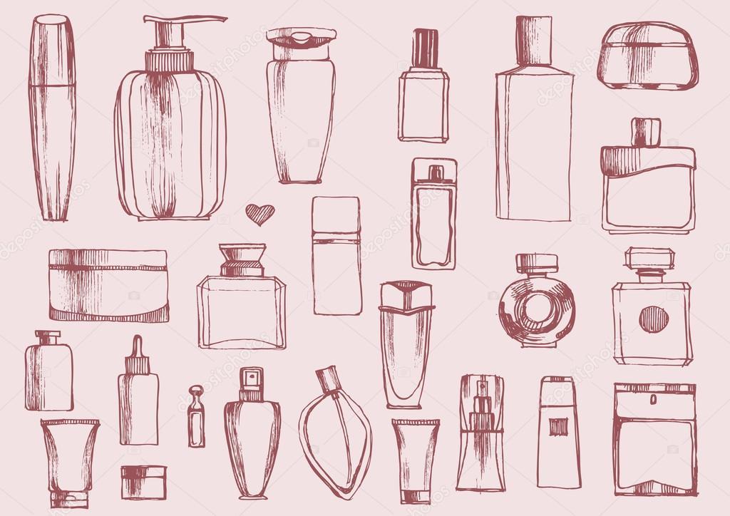 香水瓶设置手绘.化妆品瓶.矢量图–
