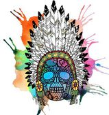 Lacy human skull in native american indian — Stock Photo