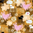 Funny seamless texture with cats in love. — Stock Vector