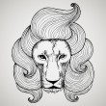 Постер, плакат: Portrait of a lion with a chic haircut