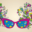 Fantasy sun glasses with floral pattern — Stock Vector #46212415