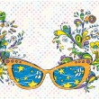 Fantasy sun glasses with floral pattern — Stock Vector #46212457
