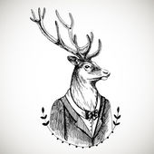 Portrait of a deer in a tuxedo . — Stock Vector