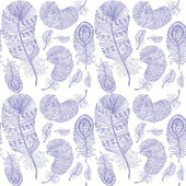 Pattern with hand-drawn feathers on white paper. — Stockvektor