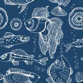 Aquarium. Underwater world. Seamless vector pattern with fish. — Stock Vector