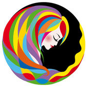 Profile of an abstract woman with  hair. — Stock Vector