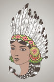 Young woman in costume of American Indian. — Stock Vector