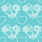 Lace background, ornamental flowers and hearts. — Stockvektor