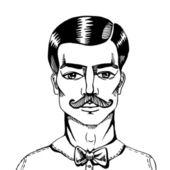 Portrait of a man whit a moustache. — Stock Vector