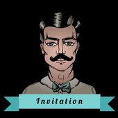Portrait of a man whit a moustache — Stock Vector