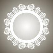 Realistic round lacy white napkin. — Stockvektor