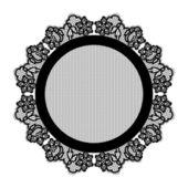 Realistic round lacy black napkin. — Vettoriale Stock