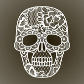 Vector illustration of black floral lacy skull. — Stock Vector