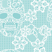 White lacy skull and flowers. — Stock Vector