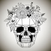 Polygonal human skull and flower wreath. — 图库矢量图片