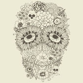 Human skull made of flowers. — Stok Vektör