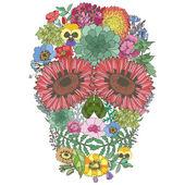 Cranio umano è composto da fiori — Vettoriale Stock