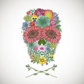 Human skull made of flowers. — Stockvektor