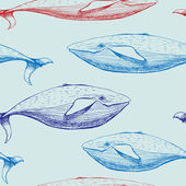 Whales seamless pattern. — Stock Vector