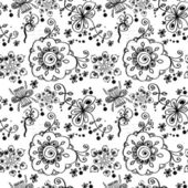 Black and white floral seamless pattern. — Stock Vector