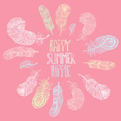 Happy. Summer. Hippie. — Stock Vector