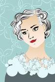 Vintage lady portrait. — Stock Vector