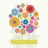 Renkli çiçekli kart — Stok Vektör