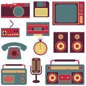 Set of retro gadgets — Stock Vector