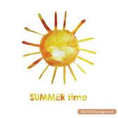 Watercolour design element.Sun.Summer time — Stock Vector