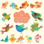 Cute birds in vector. Cartoon set — Stock Vector #46601771