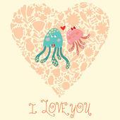 Cute wedding invitation with jellyfish. — Stock Vector