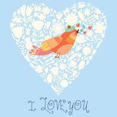 Cute wedding invitation with bird. — Stock Vector