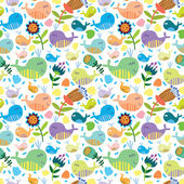 Cute seamless pattern with whales — Stock Vector