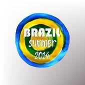 Brazil Summer 2014 Vector Water Color Background — Stok Vektör